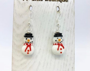 Petite wire wrapped glass snowman earrings