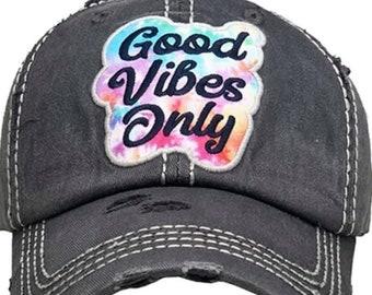 Good vibes only tattered baseball hat