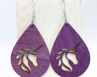 Aspen wood unicorn earrings