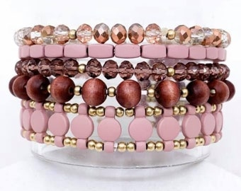 Five piece stretch bracelet set