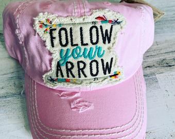 Follow your Arrow tattered baseball hat
