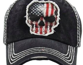 Americana skull Tattered baseball hat