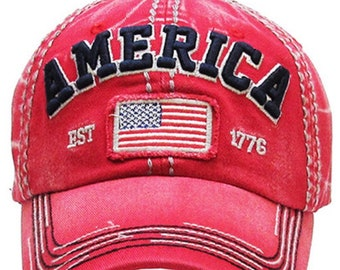 America Tattered baseball hat