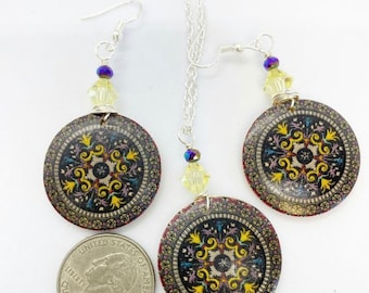 Wire wrapped wood Mandala set with Swarovski crystals on 24 inch nickel free chain