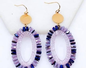 Purple bohemian beaded earrings