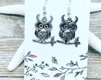 Tibetan silver owl earrings.