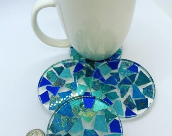 Four piece set of ocean blues mosaic tile epoxy resin coasters