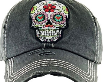 Sugar skull Tattered baseball hat