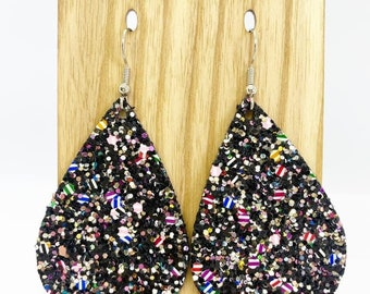 Black sparkle confetti faux leather earrings