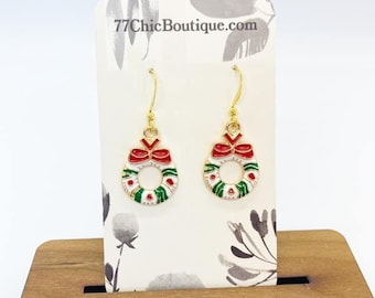 Christmas wreath charm earrings