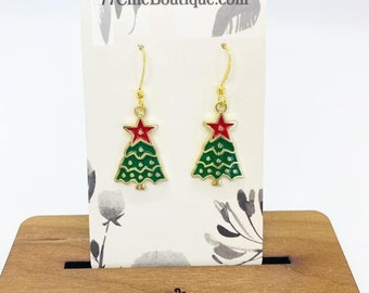 Dainty Christmas tree charm earrings