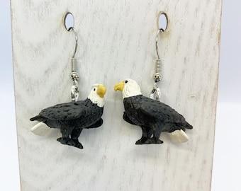 Lightweight rubber bald eagle earrings