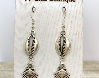 Matte silver Seashell earrings