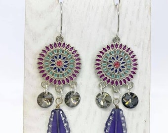 Mandala chandelier earrings featuring Swarovski crystals