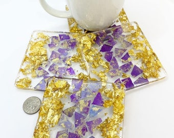 Four piece set of purple shimmer glass mosaic tile and 24 karat gold foil coasters