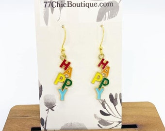 HAPPY charm earrings