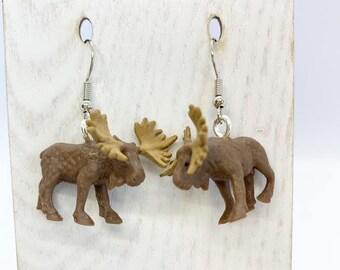 Lightweight rubber moose earrings