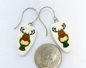 Ceramic Rudolph the red nose reindeer earrings