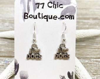 I love dogs charm earrings