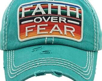 Faith over fear Tattered baseball hat