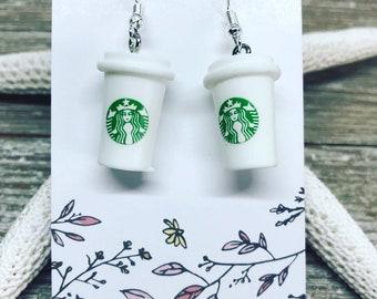 Starbucks coffee earrings on nickel free ear wires.