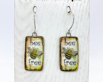 Bee free ceramic earrings