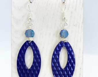 Wire wrapped acrylic earrings with Swarovski crystals