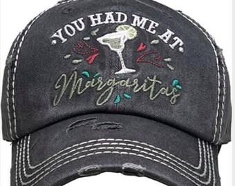 You had me at margarita Tattered baseball hat