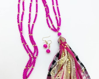 30 inch double strand beaded tassel necklace with plaid fabric and gold sequin tassel and coordinating earrings.
