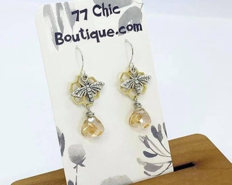 Honeybee and honeycomb earrings with wire wrapped Swarovski crystals