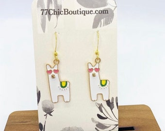 Llama charm earrings
