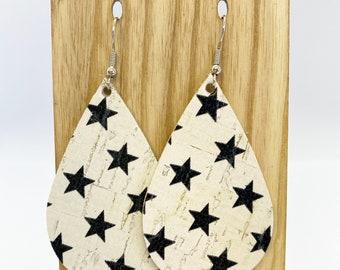 Star print cork teardrop earrings