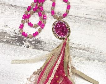 28 inch long tassel necklace