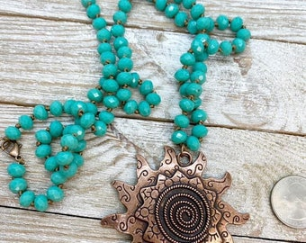 """28"""" beaded necklace with large copper sun pendant"""