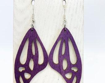 Purple Aspen wood butterfly wing earrings