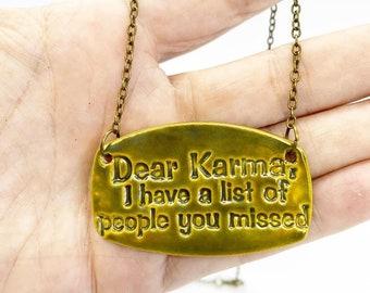 Ceramic karma Bib necklace on 18 inch vintage bronze chain