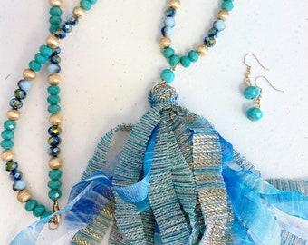 32 inch tassel necklace set