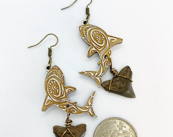 Hand stained aspen wood sharks with wire wrapped sharks tooth from Caspersen beach, venice florida