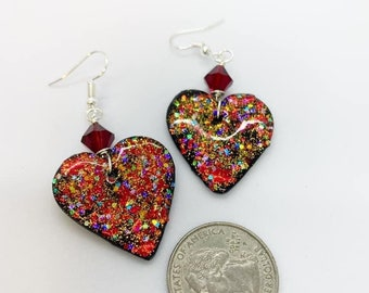 Glitter polymer clay earrings wire wrapped with Swarovski crystals