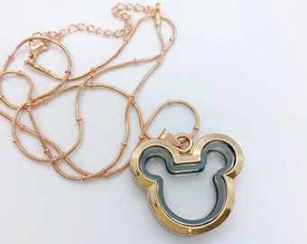 Rose gold color Mickey Mouse living locket on 24 inch chain