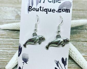 Manatee charm earrings