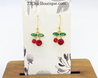 Rhinestone cherry charm earrings