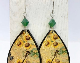 Sunflower earrings made with rice paper and balsa wood wire wrapped with Swarovski crystals on stainless steel ear wires