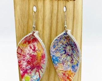 Tie-dye pinched leather earrings
