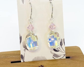 Wire wrapped Swarovski crystal earrings on stainless steel ear wires