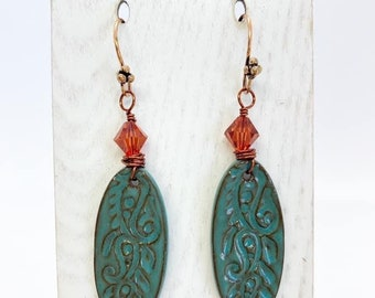Wire wrapped ceramic earrings