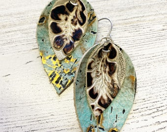 Pinched layered leather earrings