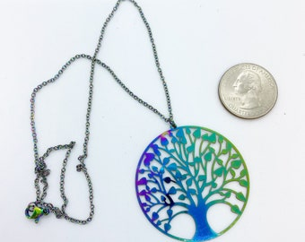 Electroplated stainless steel tree of life pendant on electroplated stainless steel 18 inch chain