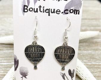 Hot air balloon charm earrings