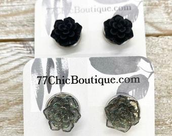 12mm stud earrings in stainless steel setting